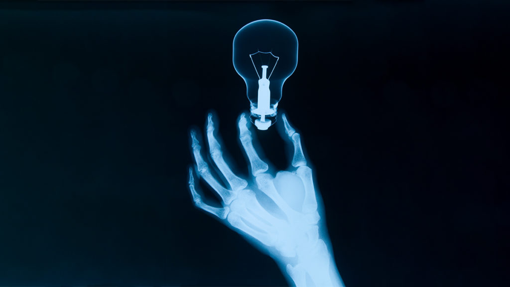 hand with bulb