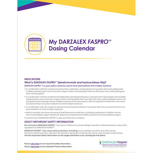 My DARZALEX FASPRO Dosing Calendar