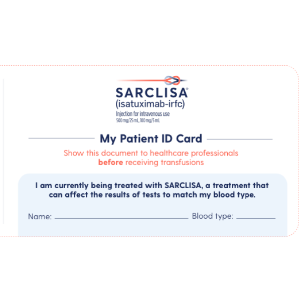 SARCLISA Patient ID Card
